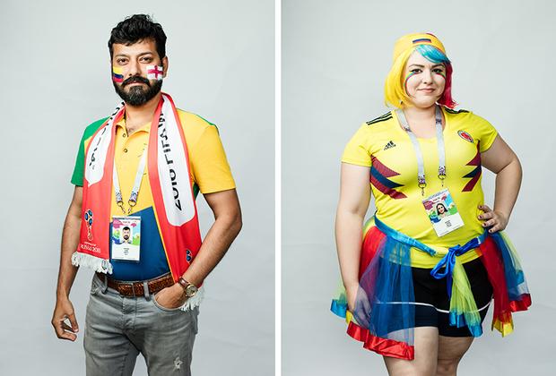 <i>Слева:</i> Джон, Индия. Приехал поболеть за Британию, поэтому нарисовал на лице сразу два флага. <br> <br> <i>Справа:</i> Типичная колумбийская болельщица. Из Колумбии приехало очень много девушек, и все они неизменно в желтых футболках.