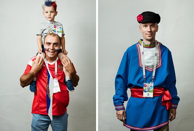 <i>Слева:</i> Российский болельщик из Москвы. <br> <br> <i>Справа:</i> Российский болельщик из Белгорода, приехал с друзьями в таких же костюмах.
