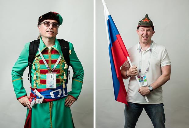 <i>Слева:</i> Американец, болеет за Россию. «Я оделся как Иван, нравится?» — сказал он во время съемки. <br> <br> <i>Справа:</i> Московский болельщик.