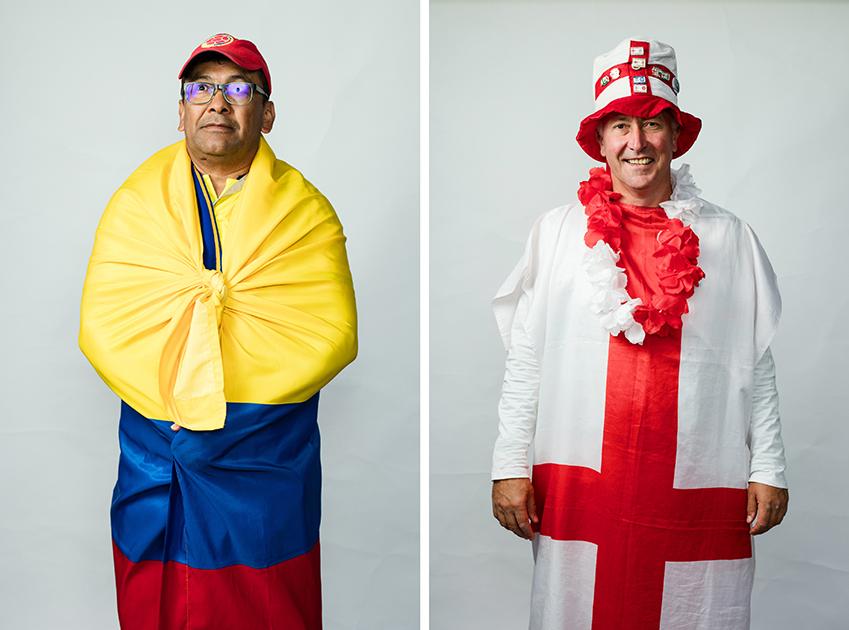 <i>Слева:</i> Педро, Колумбия. Позировал с рюкзаком на спине, завернувшись во флаг.  <br> <br> <i>Справа:</i> Питер из Британии, город Плимут. Приехал в компании из пяти друзей. Все боялись ехать, но все-таки решились приехать на одну игру на два дня. Британцы приходят на матч точно вовремя, а не заранее. В России им все очень нравится: признаются, что все оказалось гораздо лучше, чем ожидали.