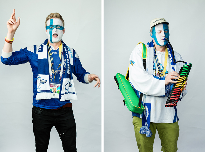 Финны из Хельсинки, приехали на пару дней поболеть за Британию. Привезли с собой музыкальные инструменты и играли на них веселые песни.