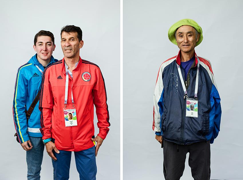 <i>Слева:</i> Альберто и Леон, Колумбия. Отец с сыном. <br> <br> <i>Справа:</i> Японский болельщик, по-английски не говорит совсем. В руках у него была бумажка с надписью I need ticket («Мне нужен билет»). Нашел ли он в итоге билет— неизвестно.