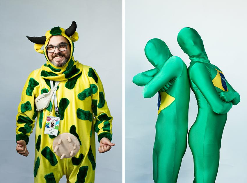 <i>Слева:</i> Филиппе, Бразилия. Приехал с двумя друзьями в костюмах коровы, который оказался чрезвычайно популярным у бразильцев. <br> <br> <i>Справа:</i> Два брата из Бразилии, Каксел и Силва. Приехали на все матчи своей команды.