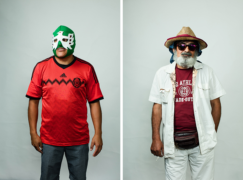 <i>Слева:</i> Мигель из Канкуна, Мексика. Приехал с другом на неделю, будет болеть за Хорватию. Побывал в Питере, остался очень доволен. Маска, в которой он предстал перед камерой, оказалась уже потрепанной от частого использования. <br> <br> <i>Справа:</i> Дато из Тбилиси, Грузия. Болеет за хорватов, так как «они славяне».
