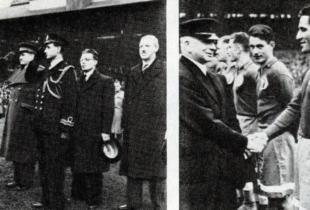 Фото слева: официальная церемония открытия матча Челси — Динамо, справа—будущий президент ФИФА сэр Стэнли Роуз.  Фото права: Первый лорд Адмиралтейства Александер приветствует футболистов «Динамо».