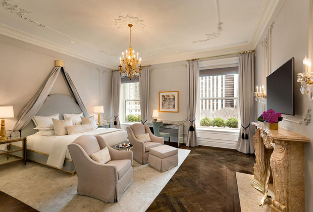 Помимо рояля, библиотеки и спортзала, в распоряжение постояльцев королевских апартаментов Plaza Hotel входят личный лифт и панорамные окна с видом на Пятую авеню. Даже ванна оборудована 24-каратными золотыми светильниками и подогреваемым полом. Цена удовольствия в центре Нью-Йорка — 2,5 миллиона рублей.