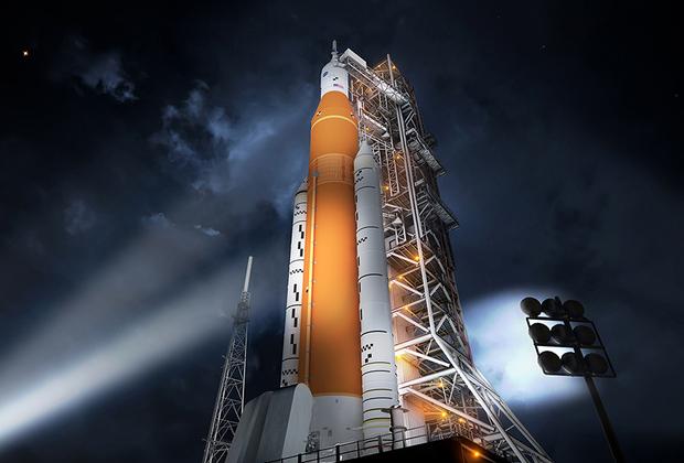 """Разрабатываемая под руководством американской компании Boeing сверхтяжелая ракета SLS (Space Launch System) предназначена для миссий к Луне и Марсу. Первый полет базовая версия ракеты (грузоподъемностью до 70 тонн на низкую околоземную орбиту) должна совершить в 2020 году, что с высокой вероятностью будет сдвинуто вправо. Усиленный вариант ракеты предполагает отправку в космос до 130 тонн. <br> <br> НАСА <a href=""""https://lenta.ru/news/2017/03/29/sls/"""" target=""""_blank"""">допускает</a> использование SLS для запуска десяти миссий, включающих отправку межпланетной станции к Европе (спутнику Юпитера с подповерхностным океаном), запуск модулей окололунной орбитальной станции LOP (Lunar Orbital Platform) — Gateway и пилотируемый полет на Марс. <br> <br> Главный и часто критикуемый недостаток SLS заключается в чрезвычайно высокой стоимости одноразовой ракеты, на создание которой с 2011-го ежегодно тратится почти по два миллиарда долларов."""