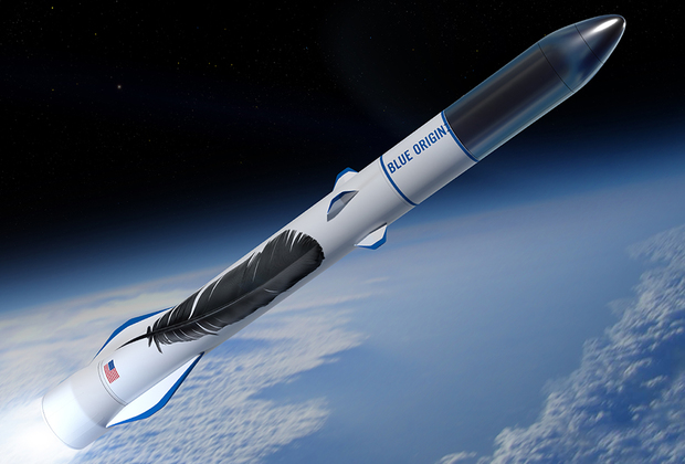 """Тяжелая ракета New Glenn будет выполняться в версиях с двумя или тремя ступенями с максимальной грузоподъемностью до 45 тонн на низкую околоземную орбиту. Первый пуск носителя запланирован на 2020 год. Многоразовая первая ступень получит семь метановых двигателей BE-4. Второй и третий этапы оснастят водородной версией BE-3. <br> <br> Разработчиком New Glenn и силовых агрегатов для нее выступает компания Blue Origin, которую полностью (без государственного участия) финансирует самый богатый человек на планете, владелец Amazon Джеффри Безос. Фабрика для производства New Glenn площадью 44 тысячи квадратных метров <a href=""""https://lenta.ru/news/2016/06/05/blueorigin/"""" target=""""_blank"""">строится</a> на территории Космического центра Кеннеди в штате Флорида (США). На заводе, как ожидается, будет трудиться около 300 человек со средней зарплатой 89 тысяч долларов в год. Объем инвестиций Blue Origin в инфраструктуру завода и космодрома составит 200 миллионов долларов. <br> <br> В настоящее время Blue Origin практически завершила испытания суборбитальной системы New Shepard, включающей многоразовые ракету и пилотируемый корабль. Конечной целью создания New Glenn Безос называет не столько поддержку запусков коммерческих спутников на околоземную орбиту, сколько обеспечение транспортной инфраструктуры для развертывания на поверхности и орбите Луны  обитаемых и автономных станций. <br> <br> В настоящее время New Glenn располагает контрактами на восемь коммерческих пусков. Главным конкурентом Blue Origin в США и мире считается SpaceX."""