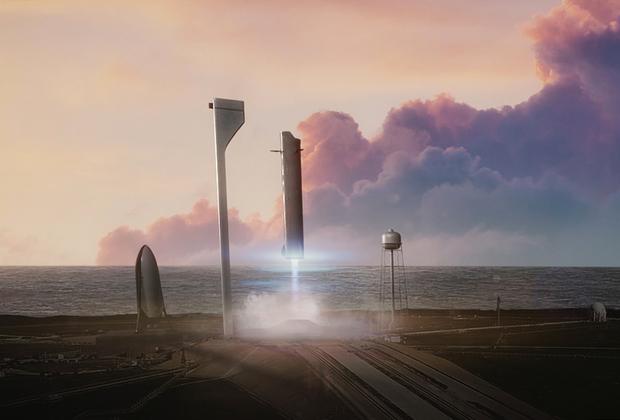 """В многоразовом варианте супертяжелый носитель BFR (Big Falcon Rocket) компании SpaceX рассчитан на выведение на околоземную орбиту до 150 тонн полезной нагрузки и возвращение на Землю до 50 тонн, а также комфортную транспортировку до ста человек (по 2-3 в каюте) к Луне и Марсу. <br> <br> Первая ступень BFR получит 31 метановый двигатель Raptor. Такой силовой агрегат будет отличать самая большая тяговооруженность (отношение развиваемой двигателем тяги к его весу) среди всех двигателей, когда-либо действовавших в мире. <br> <br> Испытания элементов BFR начнутся в 2019 году. Ракета полетит в 2022 году. Менее чем за час транспортная система доставит человека в любую точку земного шара, а стоимость билета <a href=""""https://lenta.ru/news/2018/04/12/bfr/"""" target=""""_blank"""">будет</a> дороже эконом-, но дешевле бизнес-класса для трансатлантических авиаперелетов (несколько тысяч долларов). Наверняка такие планы осуществятся, однако не так скоро и не настолько буквально, как это обещают в SpaceX."""