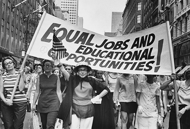 Women march on the streets of New York for equal rights in an undated photo in 60`s
