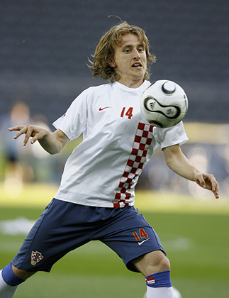 Luka Modric of Croatia in action during the Croatian National Football Team training session at the Olympic Stadium on June 12, 2006 in Berlin, Germany.