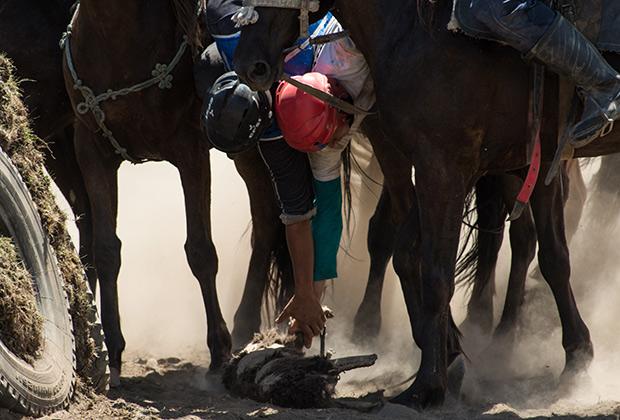 Кок-бору популярен не только в Кыргызстане, но и в России, как бы удивительно это ни звучало. Эта фотография, например, сделана во время соревнований на Республиканском турнире по конным видам спорта в урочище Кер-Кечу Республики Алтай.