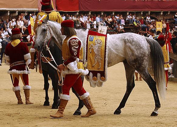 Представители «Долины Баранов» (Valdimontone) выводят на площадь Кампо лошадь, которой предстоит защищать честь контрады в Палио 16 августа 2004 года.