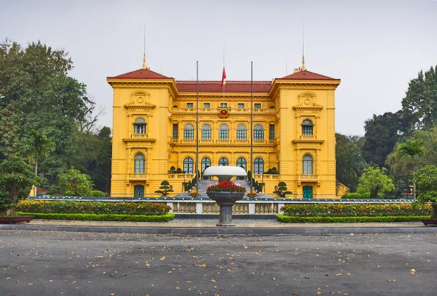 Флигель президентского дворца, где жил и работал Хо Ши Мин