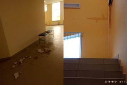 Еще не открывшаяся новая школа под Иркутском начала разваливаться после дождя