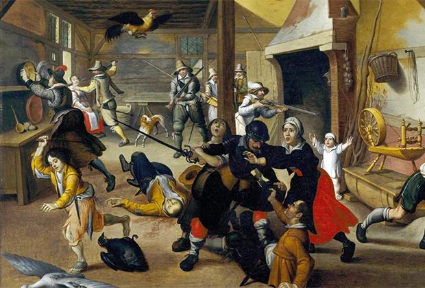 Картина Себастьяна Вранкса «Солдаты грабят ферму во время Тридцатилетней войны»