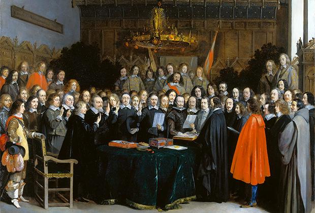 Картина Герарда Терборха «Подписание Мюнстерского мира 15 мая 1648 года»