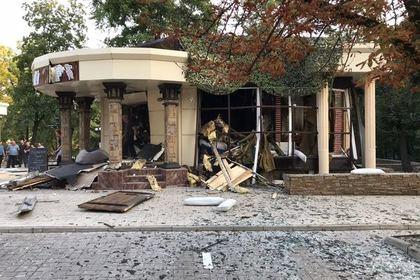 Кафе «Сепар» в Донецке после взрыва
