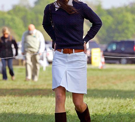 Кейт Миддлтон в замшевых сапожках на соревнованиях по конному спорту Badminton Horse Trials в мае 2007 года.