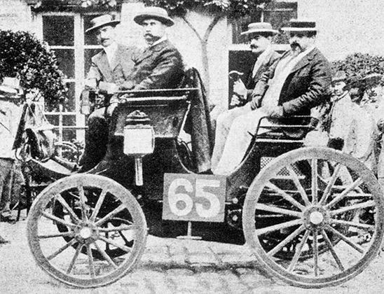 Огюст Дорио на Peugeot мощностью всего три лошадиные силы занял третье место в гонке Париж — Руан 1894 года, которая формально является первым автомобильным соревнованием в истории.