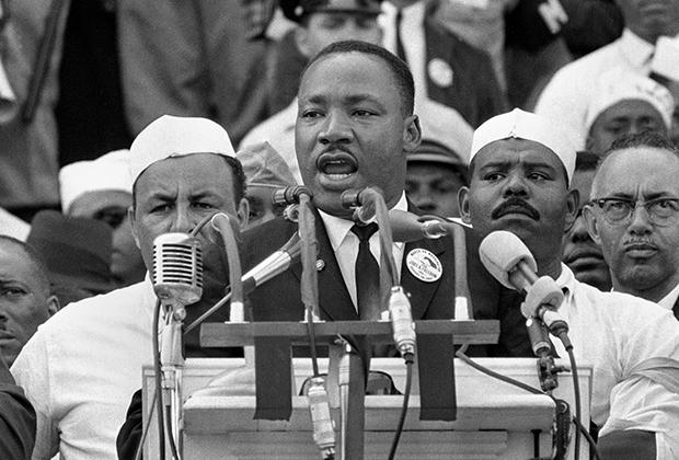 Борец за права чернокожих Мартин Лютер Кинг-младший