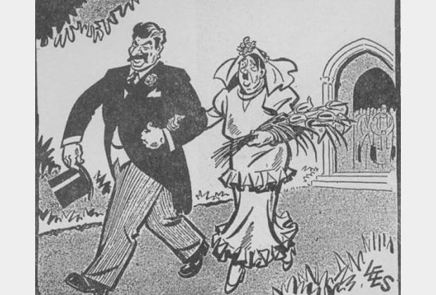 Карикатура в западной прессе после подписания пакта Молотова — Риббентропа