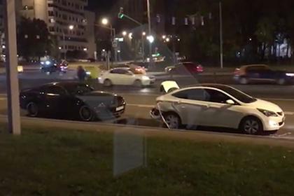 Появилось видео с места аварии с участием Димы Билана