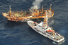 В 2011 году цунами унесло японское рыболовное судно «Рё-ун мару», на борту которого никого не было. Траулер считали погибшим, однако через год он показался у берегов Канады. «Рё-ун мару» пытались спасти, а когда ничего не вышло, решили потопить: иначе сядет на мель и будет мешать навигации. 5апреля 2012 года корабль Береговой охраны США пустил его на дно, обстреляв из автоматической пушки.