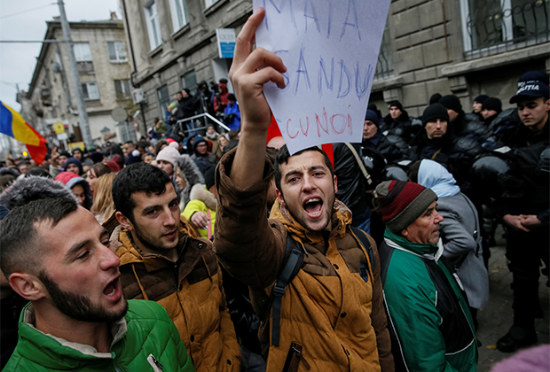 Митинг противников президента Молдавии Игоря Додона