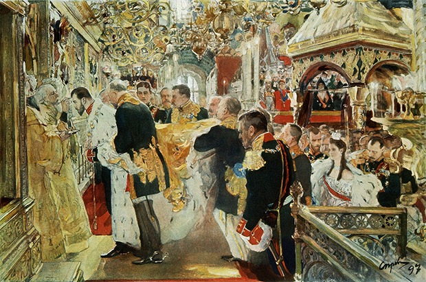 «Коронация императора Николая II в Успенском соборе», Валентин Серов.