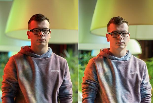 iPhoneXs в портретном режиме с имитацией диафрагмы f/2.0 (слева) и Nikon d750 f/2.0 (справа)