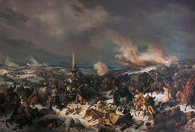 Петер фон Гесс «Отступление французов через реку Березину 17 ноября 1812 года». 1844
