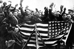 Солдаты 339-го пехотного полка армии США в Великобритании перед отправкой в Архангельск. 1918 г.