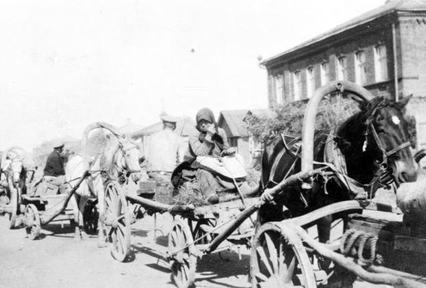 Женщина управляет конной повозкой с боеприпасами в районе дислокации 3-го корпуса белой Донской армии. Константиновка (ныне — Донецкая область Украины), сентябрь 1919 года.