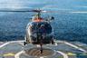 Многоцелевой вертолет Воздушного компонента Бельгии Alouette III садится на борт Godetia (A960). До этого вертолет совершил над норвежскими фьордами тактический полет, поддерживая наземные десантные учения Trident Juncture 2018.