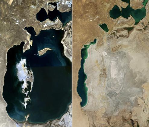 Аральское море в 1989 и 2014 годах. При этом к 1989 году Аральское море уже заметно высохло и впервые распалось на два изолированных водоема. В 1960 году крупного острова в западной части Южного Арала не было, да и на востоке береговая линия проходила дальше.