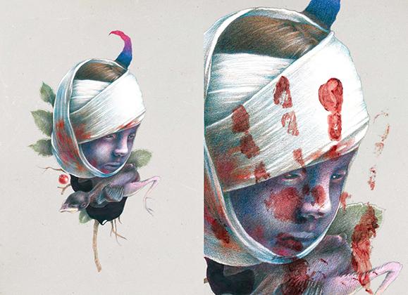 Иллюстрация к книге стихов Тилля Линдеманна Messer («Нож»)