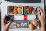 Авиакомпания «Россия» в последнее время большое внимание уделяет улучшению качества сервиса, предоставляемого пассажирам. Разработка питания «России» происходила под руководством шеф-повара, технологов и поваров ведущего производителя бортового питания на территории РФ компании «Аэромар». «Аэромар» является многолетним партнером Аэрофлота и обслуживает рейсы авиакомпании, вылетающие из московского аэропорта Шереметьево, Санкт-Петербурга, Владивостока и Ростова-на-Дону. Во всех блюдах выдержаны рецептуры приготовления и сочетаемость ингредиентов, широко используются высококачественные натуральные продукты.