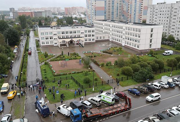 Здание школы №1 в Ивантеевке, где ученик 9-го класса открыл стрельбу, 5 сентября 2017 года