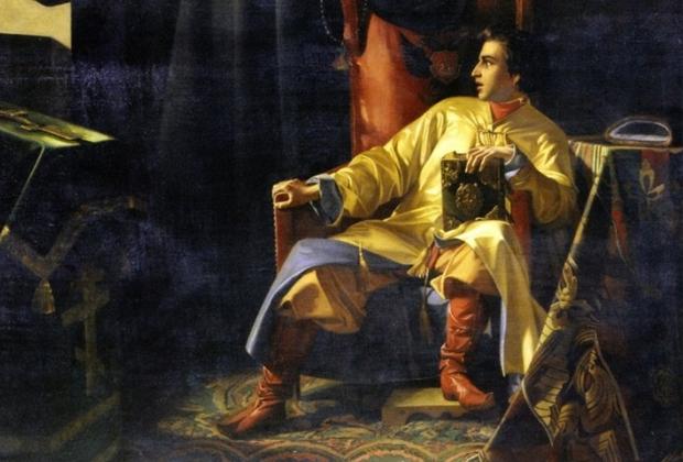 Павел Плешанов. «Царь Иоанн Грозный и иерей Сильвестр во время большого московского пожара 24 июня 1547 года»