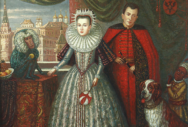 Марина Мнишек и Лжедмитрий I в Москве. Компанию царю и царице на этом портрете составили арап, пес и обезьяна — так в XVII веке представляли себе первостатейную роскошь в Европе.