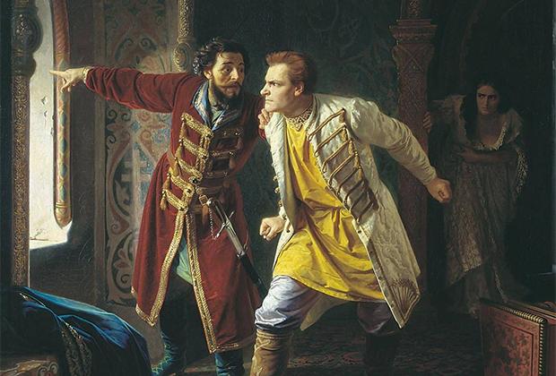Лжедмитрию I сообщают о бунте, поднятом против него стрельцами. Картина «Последние минуты жизни Лжедмитрия I» была написана Карлом Венигом в 1879 году.