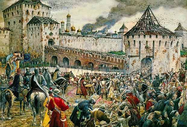 В 1612 году поляки были, наконец, изгнаны из Москвы. Впрочем, к этому моменту засевший в Кремле гарнизон потерял боеспособность, лишился провианта и боезапаса и занялся людоедством. Картина «Изгнание поляков из Кремля Пожарским» Эрнеста Лисснера, впервые представлена в 1938 году.