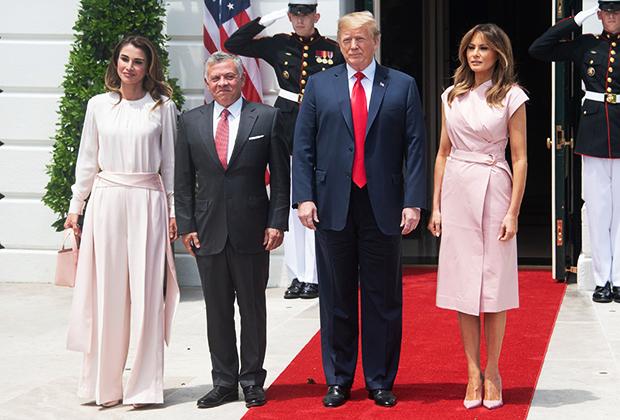 Король Абдалла II и королева Рания с президентом США Дональдом Трампом и его женой Меланией, 2018 год