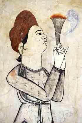Мурал с изображением индуистского аскета садху с чиллумом, Раджастхан, Индия