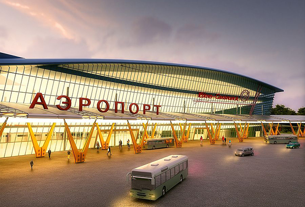Проект нового аэровокзального комплекса в аэропорту Южно-Сахалинск подразумевает строительство нового терминала с телетрапами, многоярусной парковкой и гостиницами.