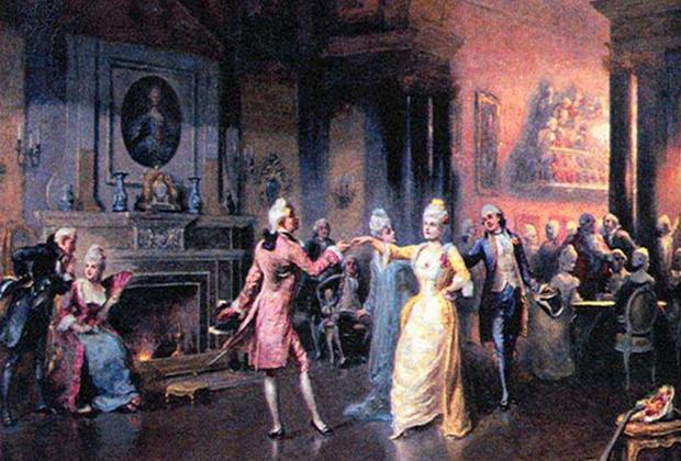 Вслед за своей веселой императрицей устраивать приемы, балы и маскарады начали не только придворные, но и дворяне в провинции.