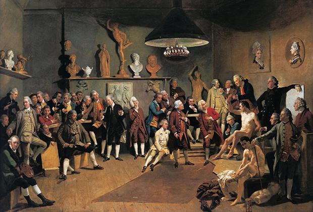 Иоганн Цоффани «Портрет членов Королевской академии в натурном классе», 1772 год