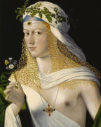 «Портрет куртизанки в образе Флоры» художника Бартоломео Венето считался изображающим Лукрецию Борджиа.