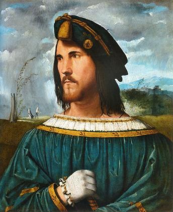 «Портрет дворянина» авторства Мелоне Альтобелло считается изображением Цезаря Борджиа. Борджиа заказывали множество картин членов своей семьи у лучших художников эпохи.